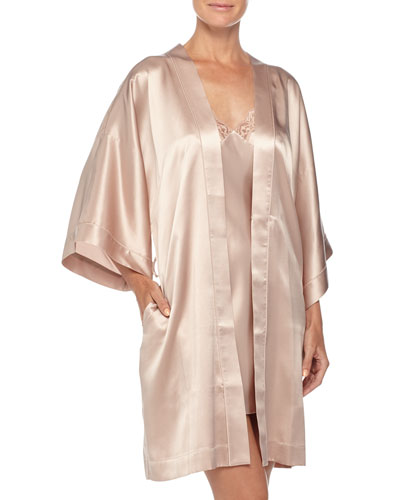 Three-Quarter Sleeve Short Robe & New Body Lace-Trimmed Chemise