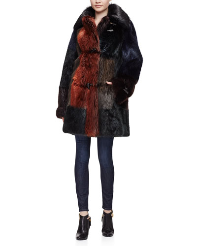 Fur Colorblock Long Coat & High-Waist Skinny Jeans