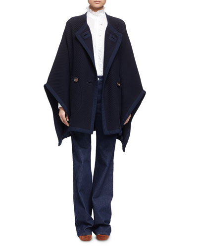 Textured Double-Breasted Cape, Ruffle-Trim Cotton Shirt & Embroidered Wide-Leg Denim Jeans