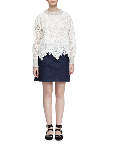 Lace/Knit Pullover Sweater & Embroidered Denim Skirt