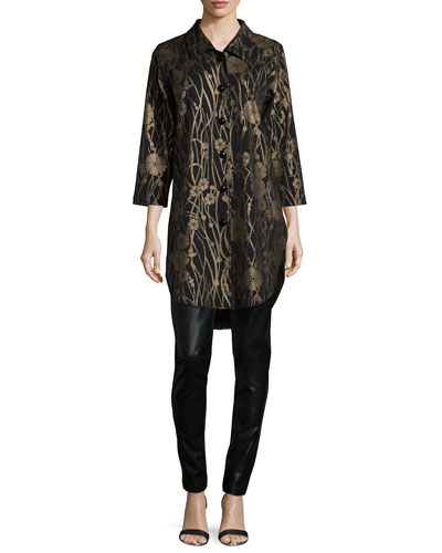 Deco Flower Long Tunic & Modern Faux-Leather and Ponte Easy Leggings
