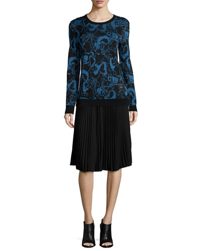 Liberty Floral Pullover Sweater & Maxine Pleated Skirt