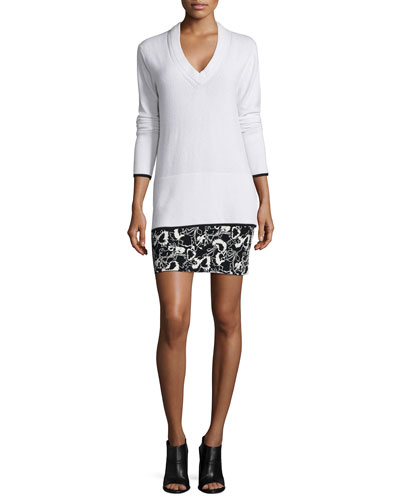 Flavia Cashmere V-Neck Sweater & Liberty Floral-Print Skirt