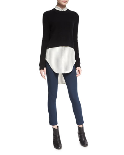 Valentina Cropped Cashmere Sweater, Nightingale Striped Long Shirt & Simone Stretch Pants