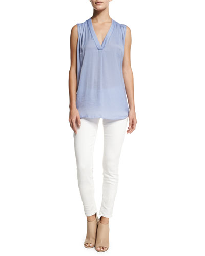 Shirred-Shoulder Sleeveless Top & Riley Skinny Jeans