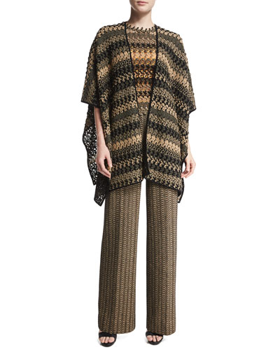 Bicolor Lace Cape, Scalloped Striped-Lace Top & High-Waist Flare-Leg Pants