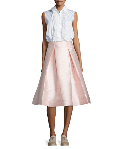 Orly Sleeveless Ruffled Blouse & Paola A-Line Midi Skirt