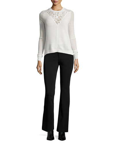 Lace-Trim Pullover Sweater & Techy Slim-Fit Boot-Cut Pants