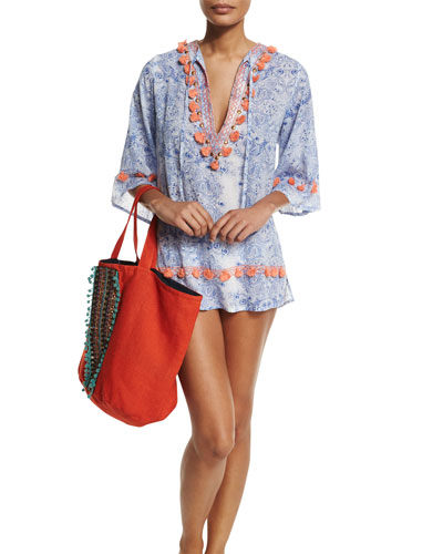 Rosental Printed Tunic Coverup & Hand-Embroidered Tote Bag