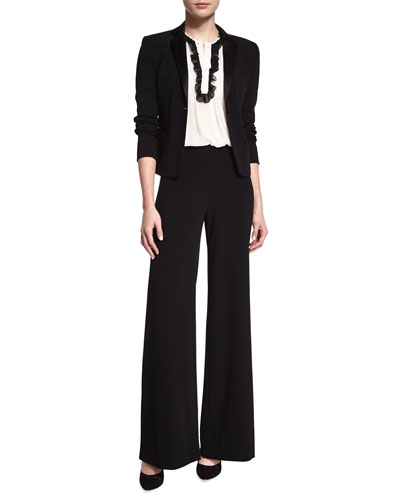 Jennie Crepe Blazer, Betsy Tuxedo Top & Preston Wide-Leg Pants