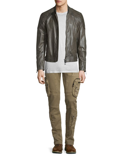 Lightweight Leather Jacket W/Quilted Panels, Trafford Cold-Dyed Short-Sleeve T-Shirt & Mallison Garment-Dyed Cargo Jeans