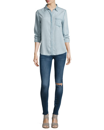 Mercer & Spring Button-Front Shirt & Florence Distressed Skinny Ankle Jeans