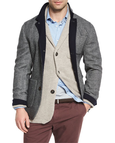 Cotton Spa T-Shirt, Twill Check Long-Sleeve Sport Shirt, Ribbed Cashmere Blazer-Style Cardigan,  & Double-Face Wool-Blend Blazer