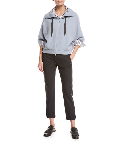 Ribbed Cashmere Zip-Front Sweater and Matching Items