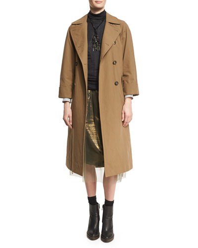 Double-Breasted Cotton Trench Coat with Belt and Matching Items
