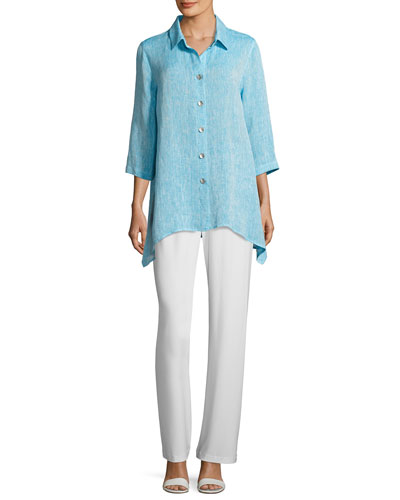 Chambray Linen Side-Fall Shirt  and Matching Items