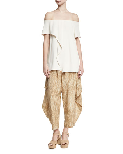 Printed Flowy Ruched Pants, Khaki Botanical and Matching Items