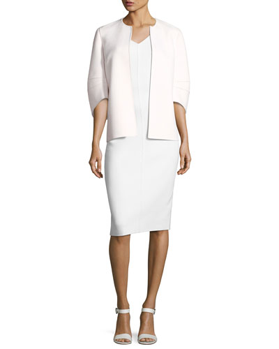 Cookie Collarless Short Jacket with Articulated Sleeve, White and Matching Items