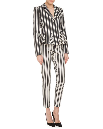 Henri Engineer-Striped Cigarette Pants, White/Black and Matching Items