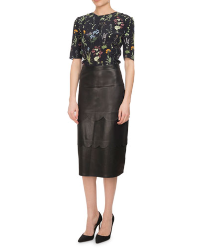 Hyacinthe Scalloped Leather Pencil Skirt, Black and Matching Items