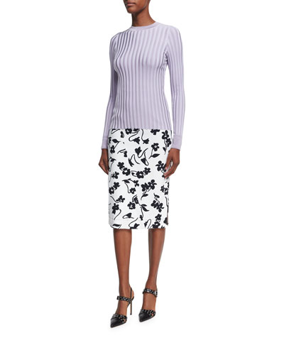 Celandrine Abstract Floral Pencil Skirt, White and Matching Items