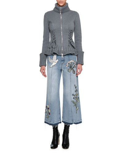 Embroidered Denim Culottes with Released Hem, Blue and Matching Items