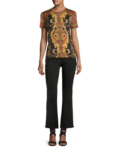 Floral-Embroidered Kick-Flare Jeans with Fringe Hem, Black and Matching Items