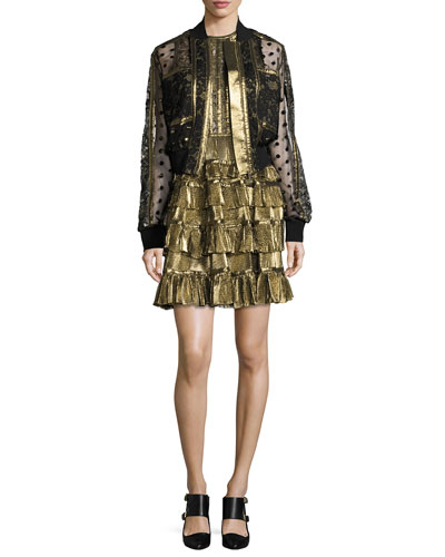 Embroidered Tulle & Lace Bomber Jacket, Black/Gold and Matching Items