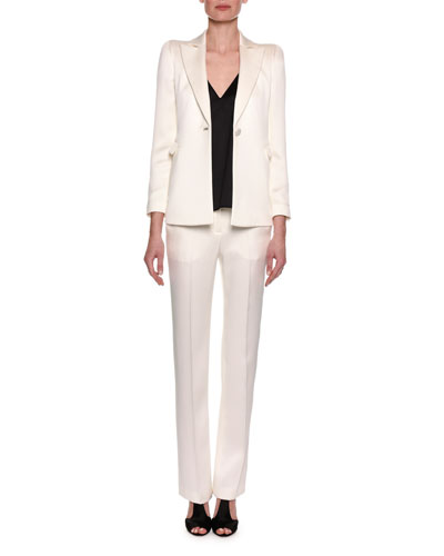 Classic Two-Piece Evening Pantsuit, White and Matching Items