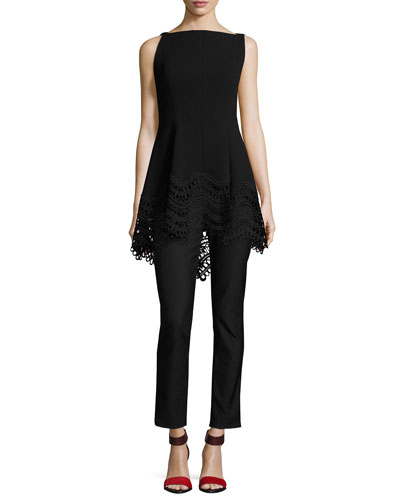 Boat-Neck High-Low Lace-Hem Top, Black and Matching Items