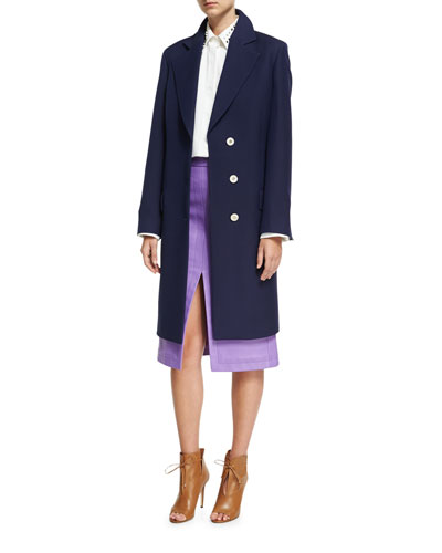 Crombie Tailored Single-Breasted Belted Coat, Navy and Matching Items