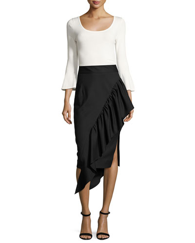 Angelina Gabardine Cascading Ruffle Midi Skirt, Black and Matching Items