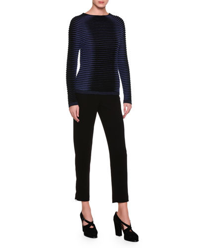 Cropped Straight-Leg Ankle-Zip Pants, Black and Matching Items