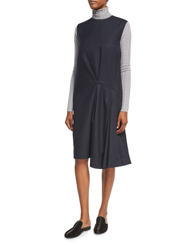 Danya Pinstripe Wool Midi Dress, Blue and Matching Items