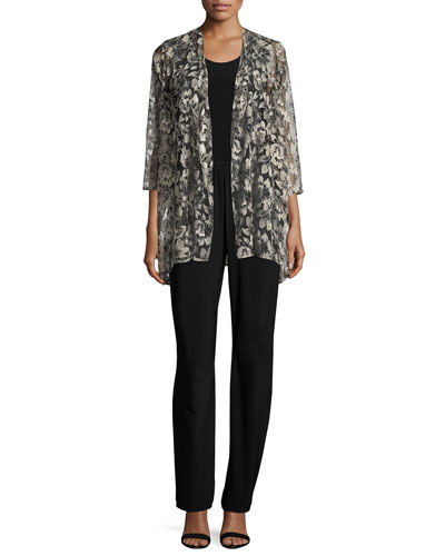 Embroidered Mesh Draped Jacket, Petite and Matching Items