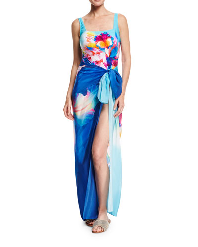 Hawaii Square-Neck One-Piece Swimsuit, Blue Multi and Matching Items