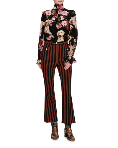 Striped Kick-Flare Cropped Pants with Dog Buttons, Multicolor and Matching Items