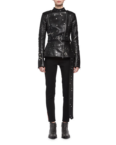 Studded Leather Biker Jacket, Black and Matching Items