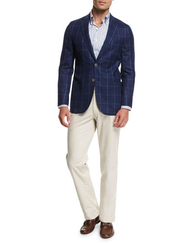 Crown Wellington Tattersall Sport Shirt, Blue and Matching Items