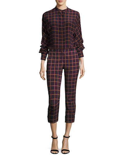 Crop Cuff York Plaid Pants, Purple and Matching Items