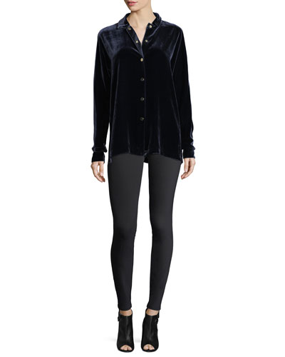 Carlita Long-Sleeve Snap-Front Velvet Blouse and Matching Items