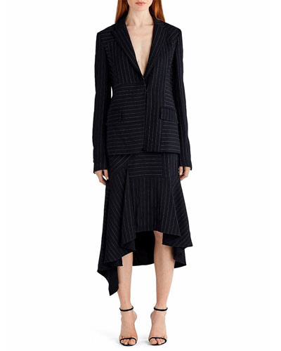 Pinstripe Stretch-Crepe Sheath Dress, White/Black and Matching Items