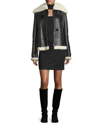 Aviator Zip-Front Shearling Leather Jacket and Matching Items