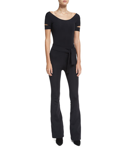 High-Waist Tie-Belt Flared Leggings and Matching Items