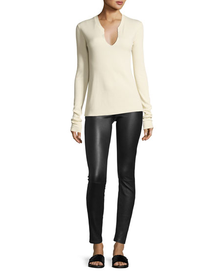 Split-Neck Long-Sleeve Cotton Thermal Top