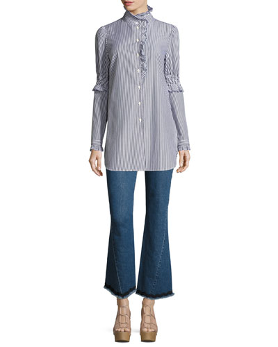 Mock-Neck Button-Front Striped Tunic Shirt and Matching Items