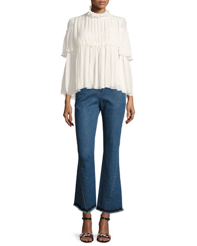 Mid-Rise Flared Raw-Hem Jeans and Matching Items