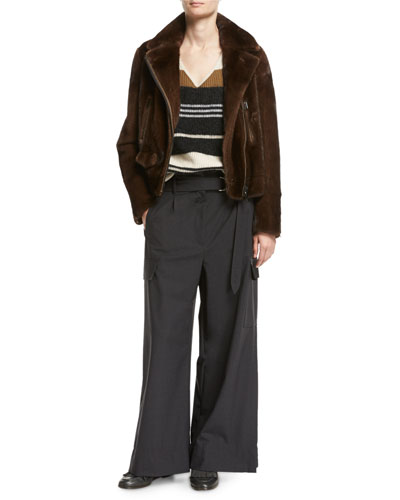 D-Ring Belted Tropical Wool Wide-Leg Pants and Matching Items