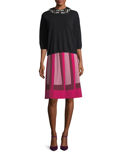 Colorblock-Pleated Crepe Skirt, Pink and Matching Items