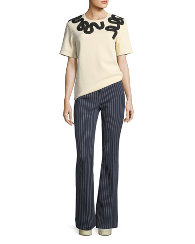 Mid-Rise Striped Flare Cotton-Stretch Trouser  and Matching Items